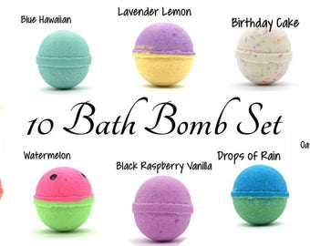10 Bath Bomb Set | Bath Bombs | Goat Milk Bath Bombs | Bath Fizzies