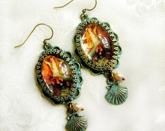 Mermaid Earrings, Verdigris Patina Earrings, Verdigris Mermaid Earrings, Mermaid Pearl Earrings, Green Mermaid Earrings, Cameo Earrings