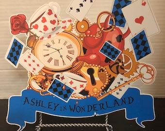 Alice in wonderland  sign for birthday decoration