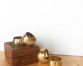 Vintage Brass Napkin Rings - Set of 4, Vintage Napkin Rings, Vintage Gold Napkin Rings, Metal Napkin Rings, Napkin Rings Set of 4