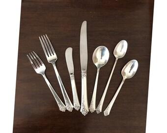 Antique Sterling Silver Silverware Oneida Heirloom Damask Rose 925 1946 Vintage Fork Spoon Knife Flatware Dinnerware Tableware Service Set