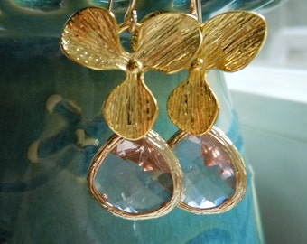 Orchids...Peach Glass and Orchid Petal Earrings...Ready to Ship...FREE SHIPPING