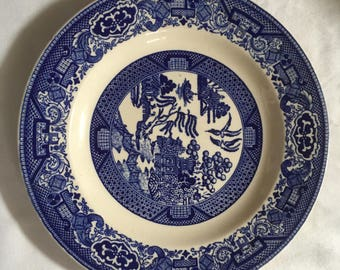 Set of 9 Willow Ware Dinner Plates made by Royal China