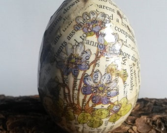 Ornamental Decorated Egg, Decoupaged Egg, Recycled Book Pages