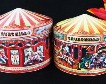"""Vintage CAROUSEL HORSE Tins by CHURCHILLS - Set of 2 / Embossed & Themed Early 20th Century England / 5 """" Tall and 4.5"""" Tall / Great Gifts"""