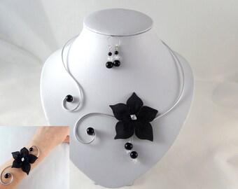 Matt - Black - customizable flower bridal headpiece