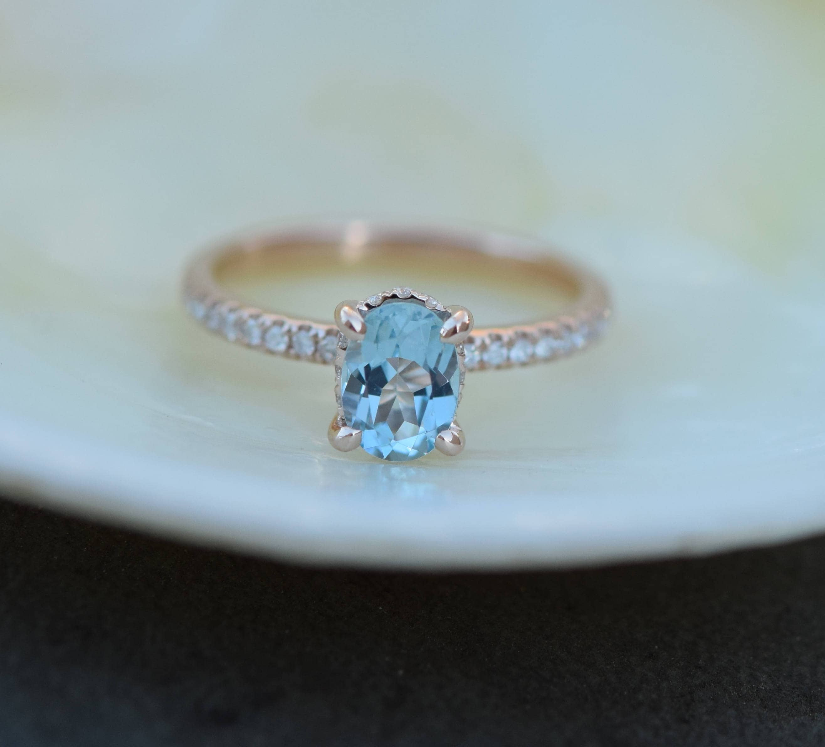 blue diamond halo shaped heart pin ring engagement light with sapphire