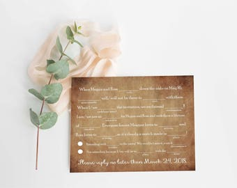 Wedding RSVP Card- Wedding RSVP Template- Rustic Wedding Invitation- Printable Rsvp Card- Printable Wedding Invitation- Rsvp Card Template