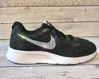 Bling nikes- black bling lace nike shoes- custom nike shoes -custom sparkly  sneakers