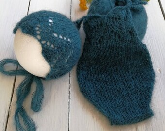 Romper & bonnet newborn photography props