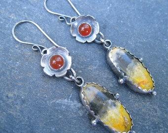 Bumble Bee Earrings, Carnelian Earrings, Yellow Black Orange and Sterling Silver Dangle Earrings, Harvest color earrings, fall earrings