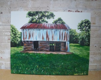 """Original acrylic landscape painting of old wooden rusted barn in Eastern North Carolina on 24x30"""" gallery wrapped canvas, wall art, farm"""
