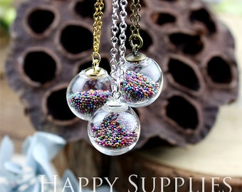Last- 50% off - 1.5 Per Set - 10 sets 16mm Small Clear Glass Globe Bottle Pendant Necklace (GB1604) - Big Sale