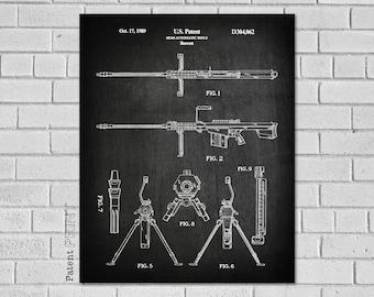 Barrett 50 Caliber Patent Print  - 50 Caliber Art - Semi-Automatic Rifle Decor - Barrett Rifle Patent - Print - Patent Print G062