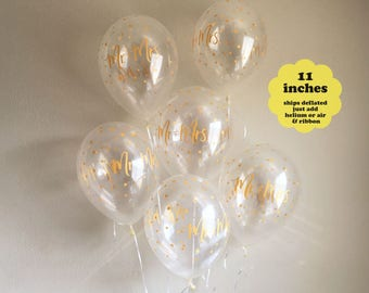 Mr and Mrs Balloons Gold Confetti - 11 inch Latex 6 pack – Wedding Balloon Bridal Shower Balloons Engagement Party Bachelorette Party Decor