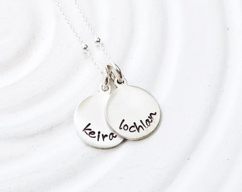 Personalized Mother's Necklace - Sterling Silver Mini Disc Necklace - Name Necklace - Mother's Jewelry - Grandmother Necklace - Minimalist