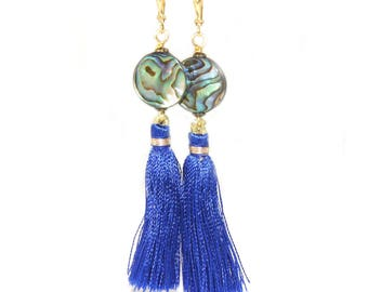 Long Blue Tassel & Paua Shell Earrings - New Zealand Abalone Jewelry