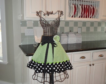 Spring Green ~ Annabelle Style  ~ Women's HALF Apron - 4RetroSisters