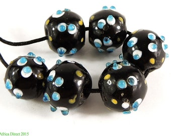6 Skunk Venetian Trade Beads Double Row Raised Dots Africa 100464
