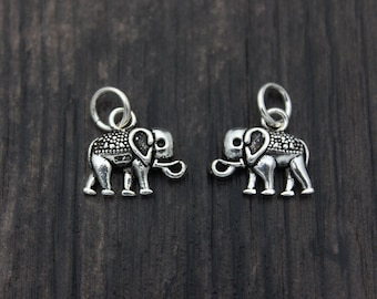1PC Sterling Silver Elephant Charm, Sterling Silver Elephant Pendant, Silver Elephant jewelry