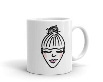 Girl With a Bun Mug-Girl With a Crown