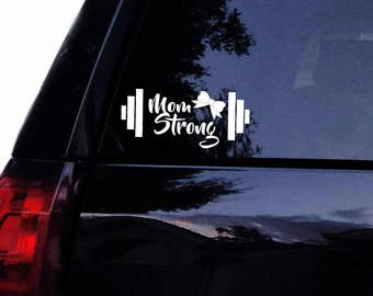 Barbell Mom Strong Decal with Girly Bow Vinyl Gym Fitness Crossfit Mom Weightlifter Gym Car Decal, Laptop Decal, Car Window Wall Sticker