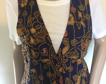 90s Navy Beaded Vest by the Limited Medium