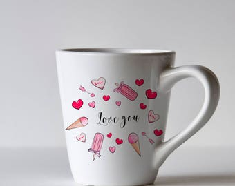Digital art. Lettering Love you. Ice cream. Pink heart.