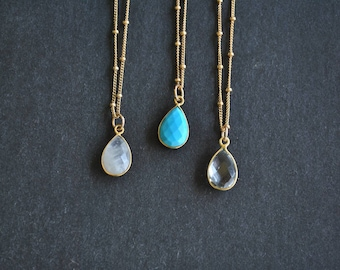 Malina Necklace - Teardrop Gemstone Delicate Gold Necklace - Turquoise, Moonstone, Crystal Stone - Gold Satellite Chain Necklace