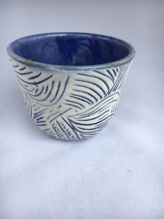 Handcarved Blue and White ZigZag  cup