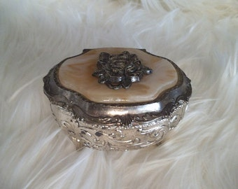 Vintage ornate silverplate Jewelry box with Inset rose ~ Victorian Jewelry casket