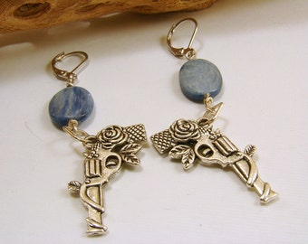 Kyanite with a Revolver Earrings