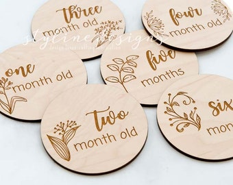 Monthly Milestone Engraved Wood Plaques - Baby Keepsake -Monthly Photos and Baby Shower Gift
