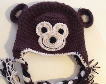Monkey Hat | Crochet Hat | Newborn Gift | Photo Prop Hat | Character Hat | Child Character Hat | Winter Hat | Knitted Hat | Handmade