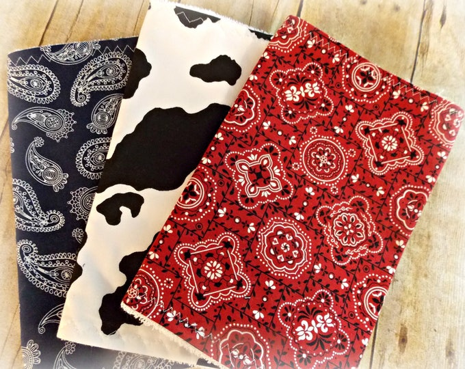 Burp cloth set -  Country prints  -   Cow print burp cloths -  Rodeo baby gift -  Farm baby gift - baby shower gift - Burp cloth set - burps