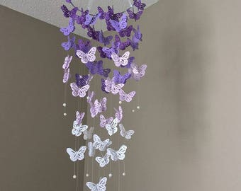 Purple Butterfly Mobile - Butterfly Mobile - Ombre Purple Mobile - Purple to White Mobile - Purple Room Decor - Nursery Room Decor