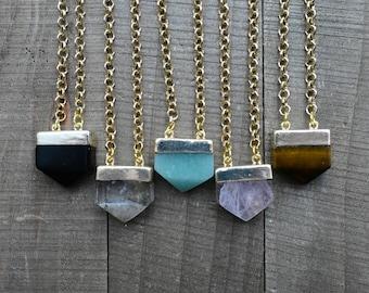 Mini Gold Pentagon Stone Pendant Necklace/ Crystal Gemstone Pentagon Point/ Delicate Little Natural Stone Layering Pendant (EP-GMP10)