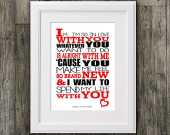 Al Green Lets stay together . 8x10 picture mount & Print Typography song music lyric for self framing