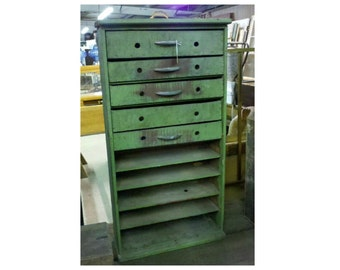 Tall Vintage 5 Drawer Green Wooden Cabinet for  Office, Jewelry, Kitchen Spices