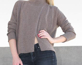 Long Sleeve Split Front Mock Neck Pullover Sweater
