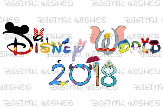 disney world 2018 word in character text family vacation rh etsy com disney world clipart free disney world clip art free images