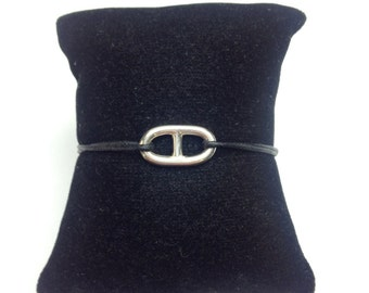Bracelet maille marine en Argent sur Cordon