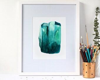 Watercolour Emerald Gemstone 8x10 Art Print