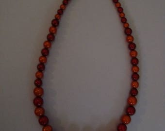 Orange and red magic Pearl Necklace