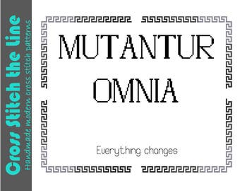 Everything changes. Mutantur omnia. Modern cross stitch pattern for a sampler in Latin. Contemporary geometric cross stitch design.