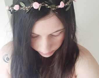Woodland Rose baby pink flower crown adjustable