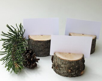 12 reclaimed pine place card holders, reclaimed wood table number holders, branch place card holders, rustic wedding name card holders