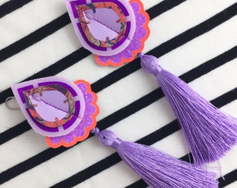STATEMENT EARRINGS with lilac tassels and fluoro orange frill. Festival Jewellery Collection. Colourful earrings. UV Reactive jewellery