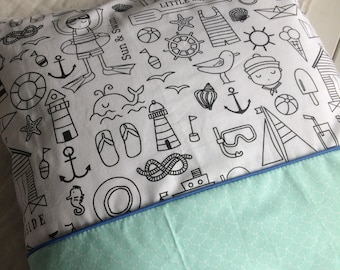 Cushion cover - fabric coloring seaside theme