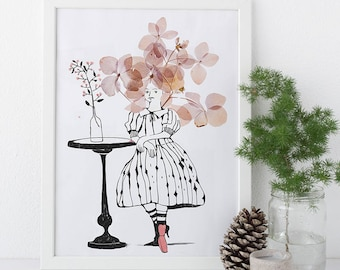 Not your wallflower • Beautiful print with photo of dried flowers and ink drawing • Styling • Children's room